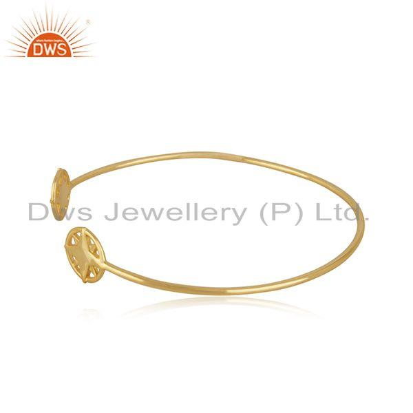 Exporter Star Charm Yellow Gold Plated 925 Sterling Silver Cuff Bracelet Wholesale