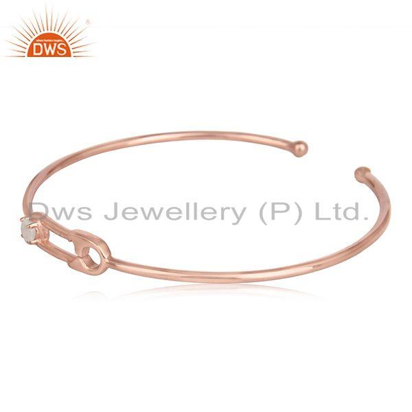 Rainbow moonstone rose gold plated silver safety pin cuff bangle
