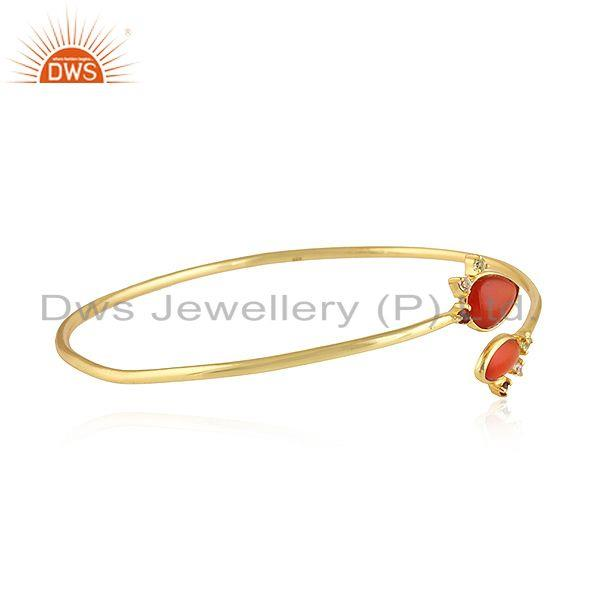 Supplier of Natural red onyx gemstone designer gold plated silver bangles