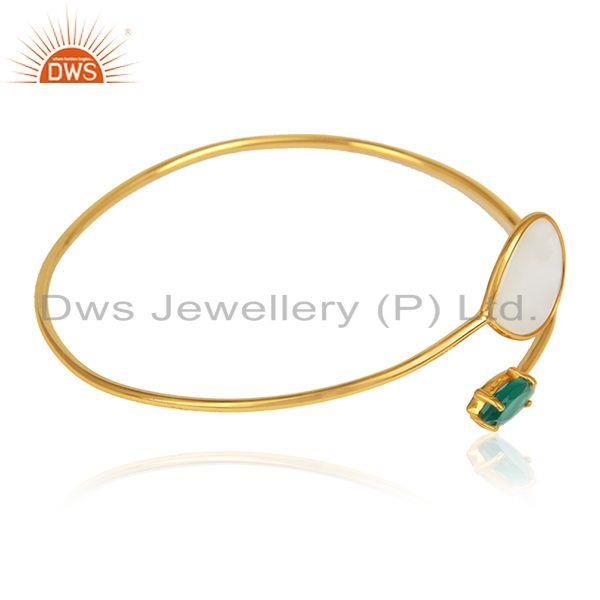 Designer gold over green onyx mother of pearl gemstone bangles
