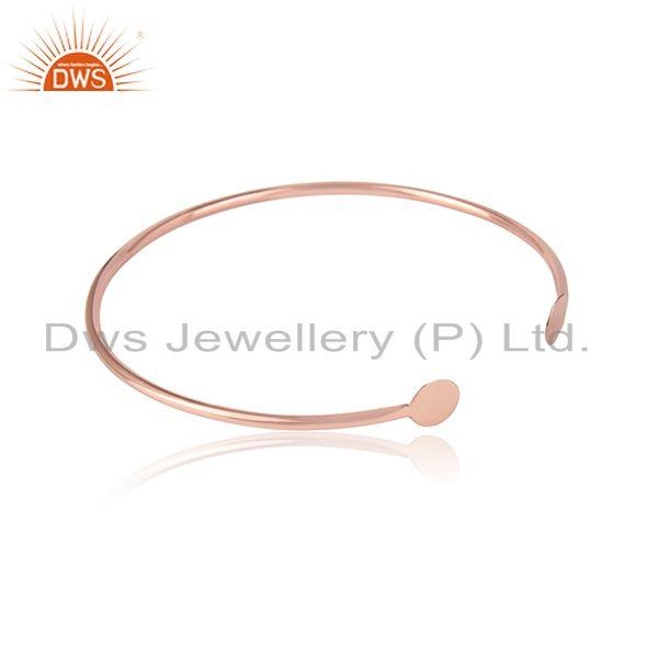Rose gold on 925 silver handmade cuff bangle jewelry for womens
