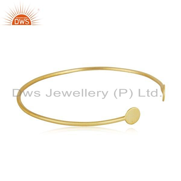 Supplier of Yellow gold on 925 silver handmade cuff bangle jewelry for womens