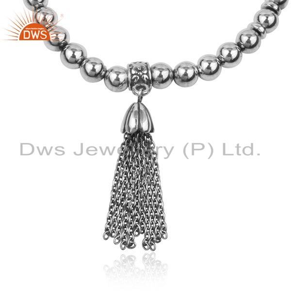 Exporter New Arrival 925 Sterling Silver Beaded Silver Oxidise Bracelet Jewelry