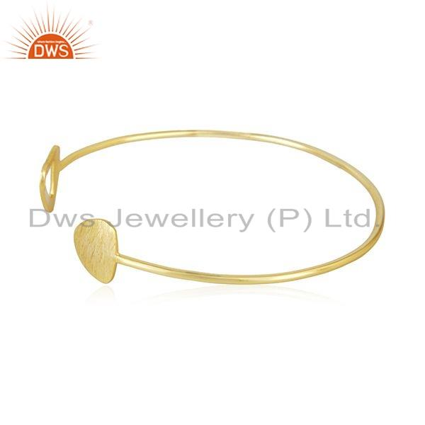 Exporter Gold Plated 925 Sterling Silver Texture Designer Cuff Bangle Jewelry