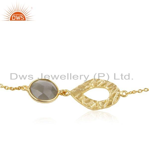 Exporter Texture Gold Plated Silver Gray Moonstone Gemstone Bracelet Jewelry