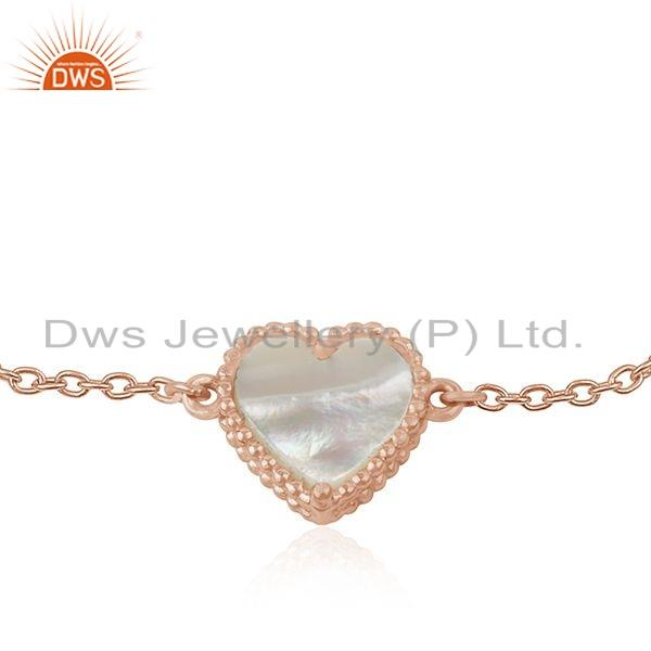 Exporter Rose Gold Plated Silver Heart Shape Mother of Pearl Bracelet Jewelry