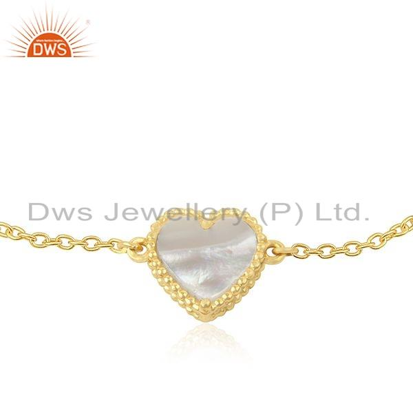 Exporter Heart Shape Gold Plated 925 Silver Designer Chain Bracelet Jewelry