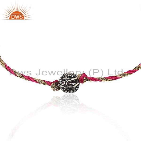 Exporter Indian Oxidized Silver Beads Girls Macrame Rakhi Bracelet Jewelry