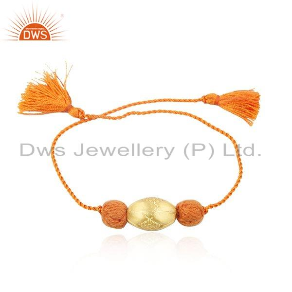 Exporter Designer Yellow Gold Plated Silver Bead Macrame Bracelet Jewelry