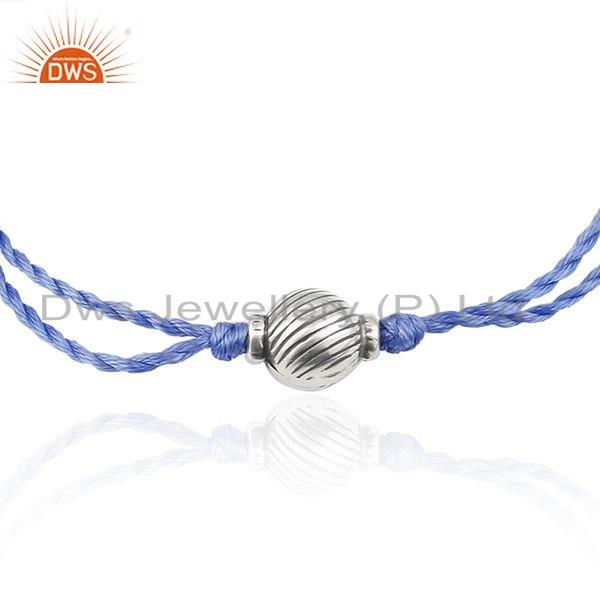 Exporter Designer Oxidized Silver Bead Blue Macrame Bracelet Jewelry For Girls