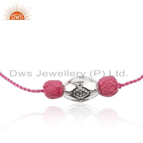 Exporter Oxidized Sterling Silver Finding Bead Pink Macrame Bracelet Jewelry
