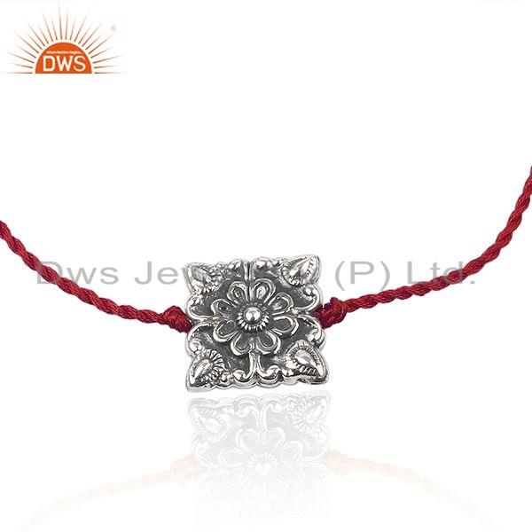 Exporter Floral Design Oxidized Sterling Silver Red Macrame Bracelet Jewelry