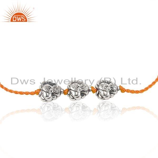 Exporter Designer Oxidized 925 Silver Orange Macrame Girls Bracelet Jewelry