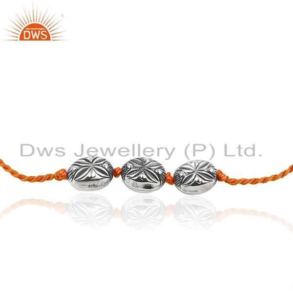 Exporter Floral Oxidized Silver Beaded Orange Macrame Womens Bracelet Jewelry