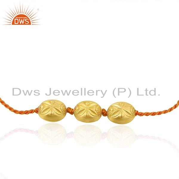 Exporter New Gold Plated Designer Silver Bead Orange Macrame Bracelet Jewelry
