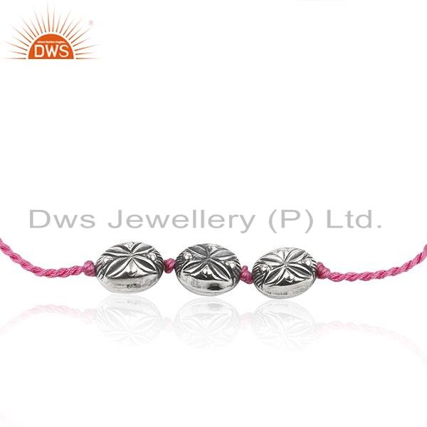 Exporter Oxidized Plated 925 Silver Pink Macrame Bracelet Jewelry For Girls