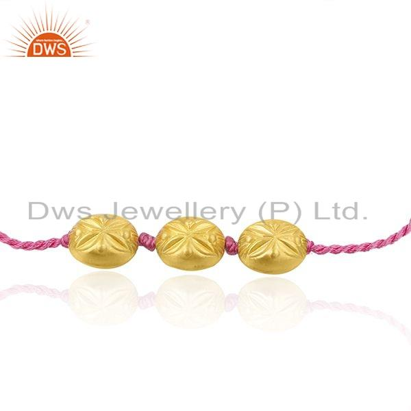 Exporter Pink Color Macrame 925 Silver Gold Plated Beaded Bracelet Jewelry