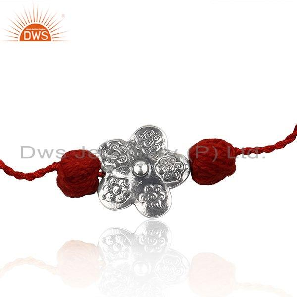 Exporter Flower Design Oxidized Silver Red Color Macrame Braelet Jewelry
