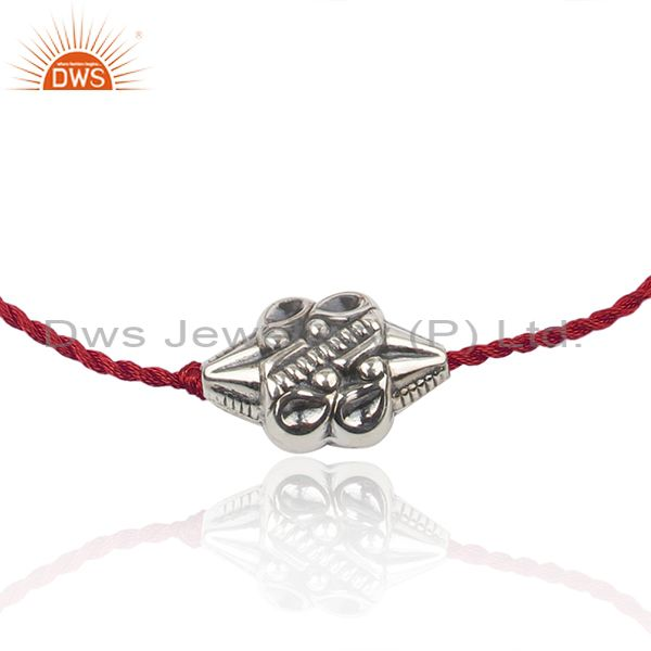 Exporter Floral Oxidized 925 Silver Designer Red Macrame Bracelet Jewelry