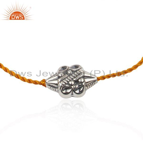 Exporter Orange Macrame Dori 925 Sterling Silver Bead Bracelet Jewelry