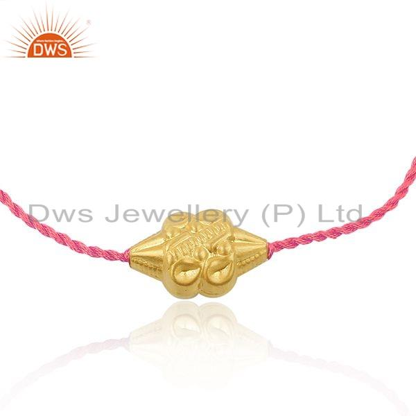Exporter 18k Gold Plated Designer Silver Bead Pink Macrame Bracelet Jewelry