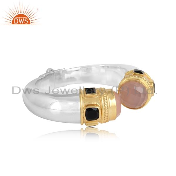 Chunky cuff in gold on silver925 with rose chadcedony, black onyx