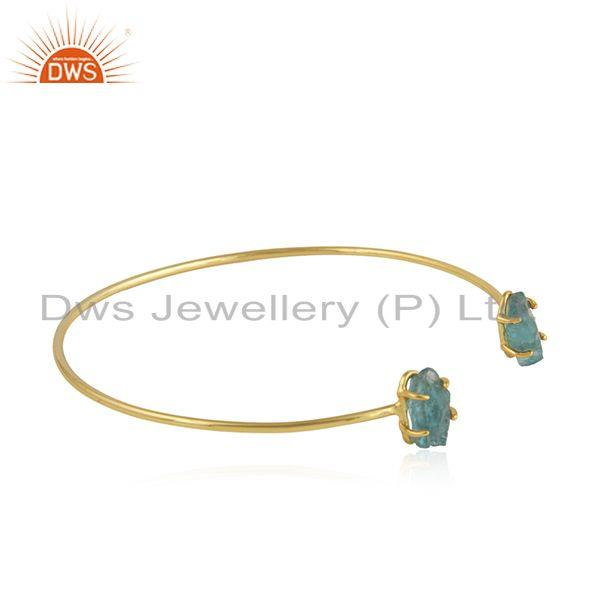 Exporter Prong Set Apatite Gemstone Gold Plated Silver Cuff Bangle Jewelry