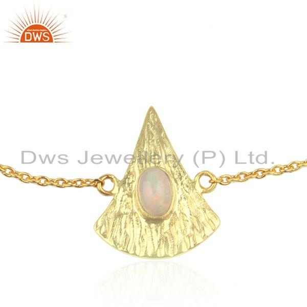 Exporter Texture Gold Plated Silver Ethiopian Opal Gemstone Chain Bracelet