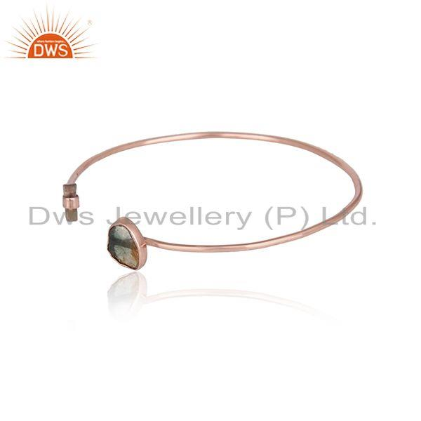 Rose gold plated 925 silver bio tourmaline gemstone cuff bangles