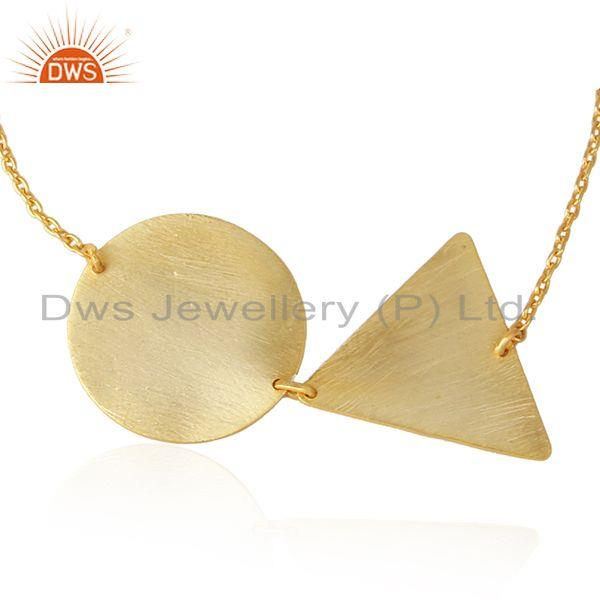 Yellow gold plated plain silver geometric design chain bracelets
