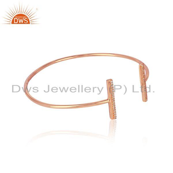 Designer pave bar cuff in rose gold over silver 925 with cz