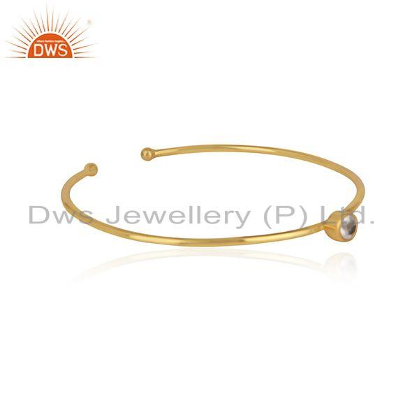Silver 925 yellow gold plated sleek cuff with rose quartz