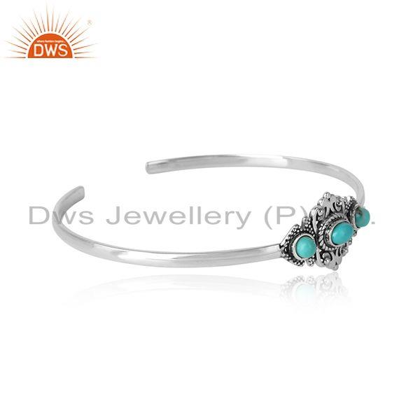 Designer bohemian cuff in ocidised silver with arizona turquoise