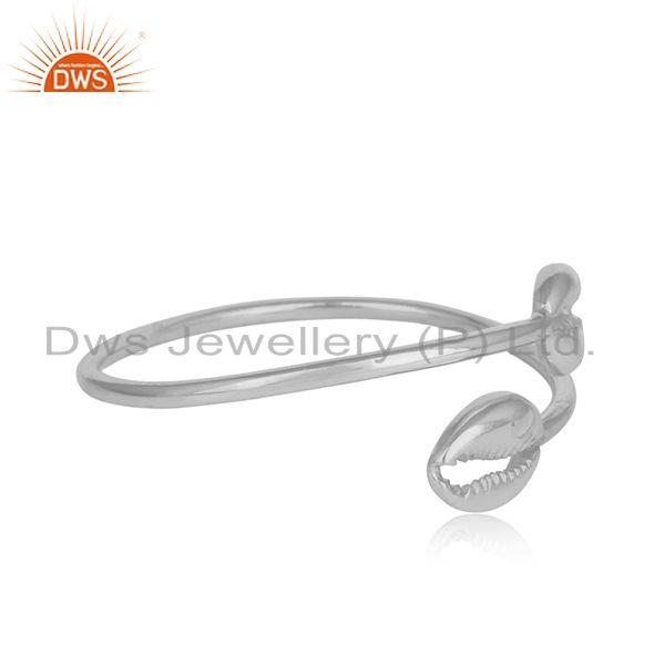 Designer cowrie cleek bypass cuff in solid silver 925