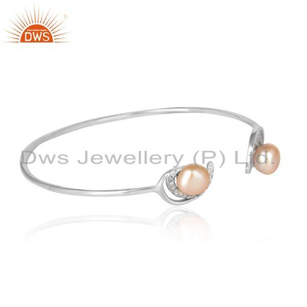 Pink pearl designer dainty cuff in rhodium on silver and cz