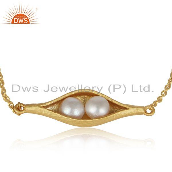 Designer seedpod natural pearl bracelet in yellow gold on silver