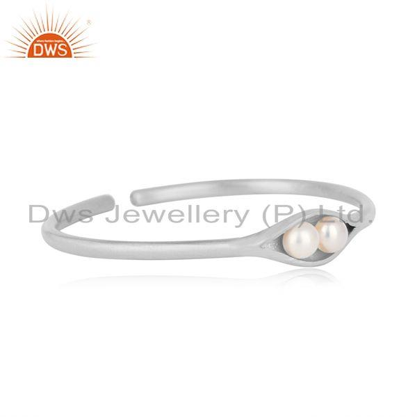 Designer seedpod cuff in solid silver 925 with natural pearls