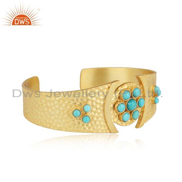 Hammered design bold gold on silver 925 cuff with arizona turquoise
