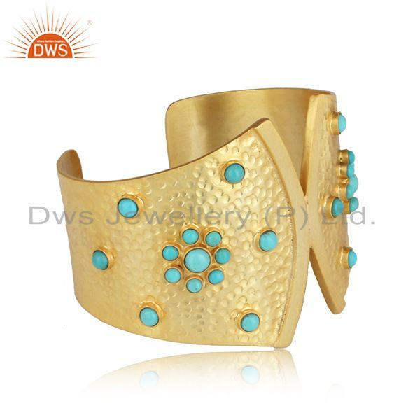 Bold hammered design gold on silver 925 cuff with arizona turquoise
