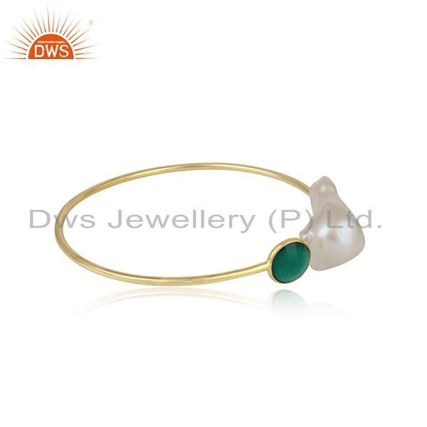 Handcrafted gold on silver cuff with green onyx and natural pearl