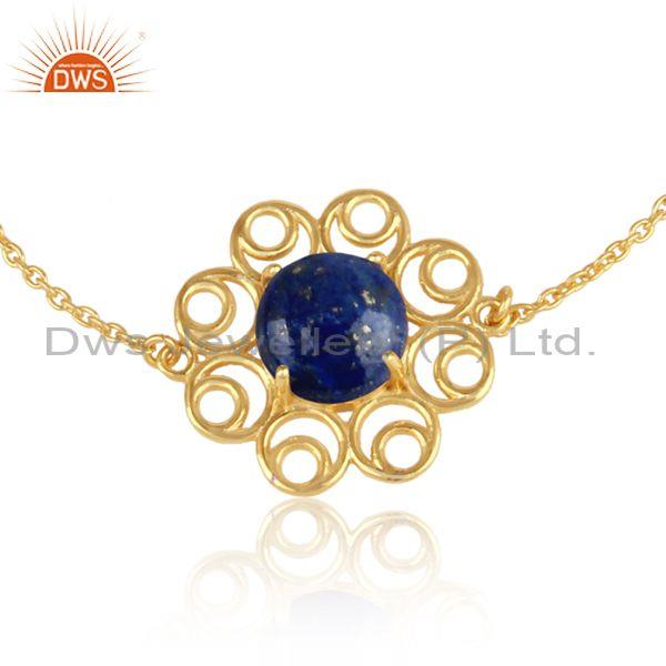 Supplier of Designer Yellow Gold on Silver 925 Slider Bracelet with Lapis