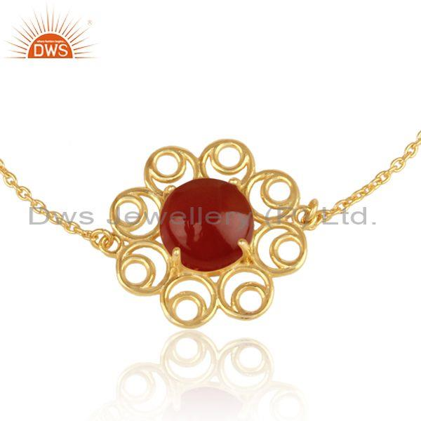 Supplier of Designer Gold on Silver 925 Slider Bracelet with Red Onyx