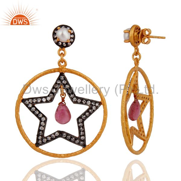 Exporter Pearl studded Designer Star Shape Designer Wholesale Fashion Earring