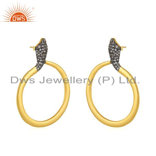 Exporter 18K Yellow Gold Plated Sterling Silver Cubic Zirconia Snake Post Stud Earrings