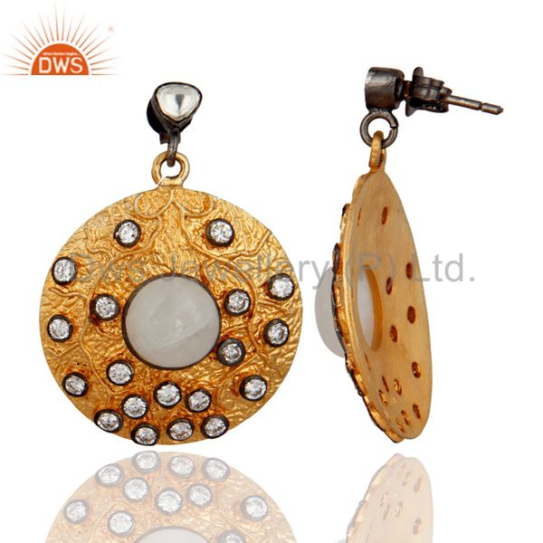Exporter Rainbow Moonstone Vintage Look Disc Designer Fashion Wholesale Earrings
