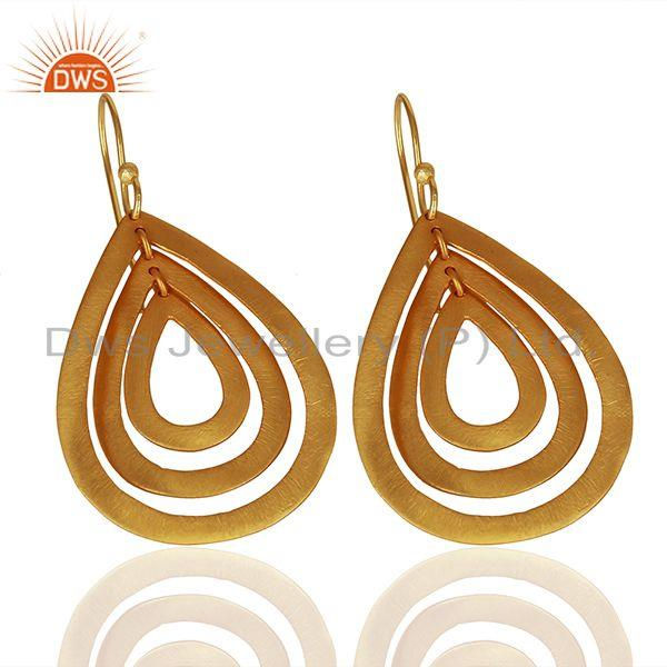 Exporter Handmade Gold Plated Brass Fashion Dangle Earrings Manufacturers