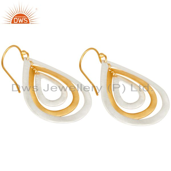 Exporter 14K Gold Plated & Solid 925 Silver Plated Handmade Fashion Drops Brass Earrings