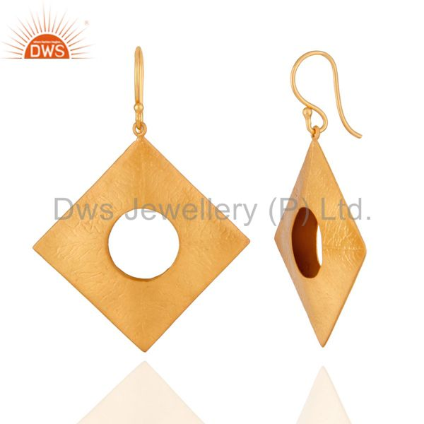 Exporter Solid 925 Sterling SIlver Textured Mette Finish With Gold Plated Hook Earrings