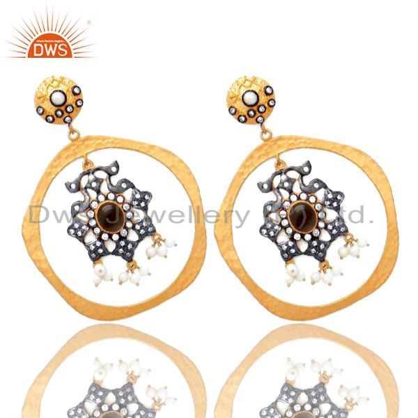 Supplier of 22K Gold Plated Sterling Silver Smoky Quartz And Pearl Dangle Earrings With CZ