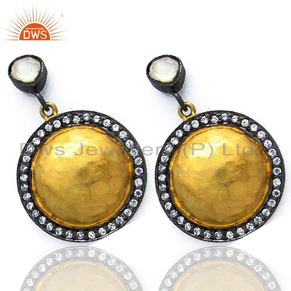Exporter 22K Yellow Gold Plated Sterling Silver Crystal CZ Polki Disc Dangle Earrings